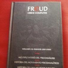 Libros de segunda mano: FREUD. OBRAS COMPLETAS. VOLUMEN 10: ENSAYOS LXXV - LXXXV (EDICIONES ORBIS). Lote 172695554