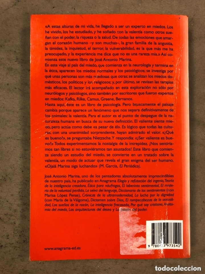 Libros de segunda mano: ANATOMÍA DEL MIEDO (UN TRATADO SOBRE LA VALENTÍA). JOSÉ ANTONIO MARINA. 255 PÁGINAS. - Foto 6 - 172994882