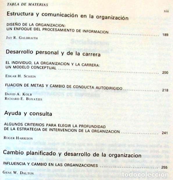 Libros de segunda mano: PSICOLOGÍA DE LAS ORGANIZACIONES - PROBLEMAS CONTEMPORÁNEOS - 1982 - VER INDICE - Foto 4 - 173194370