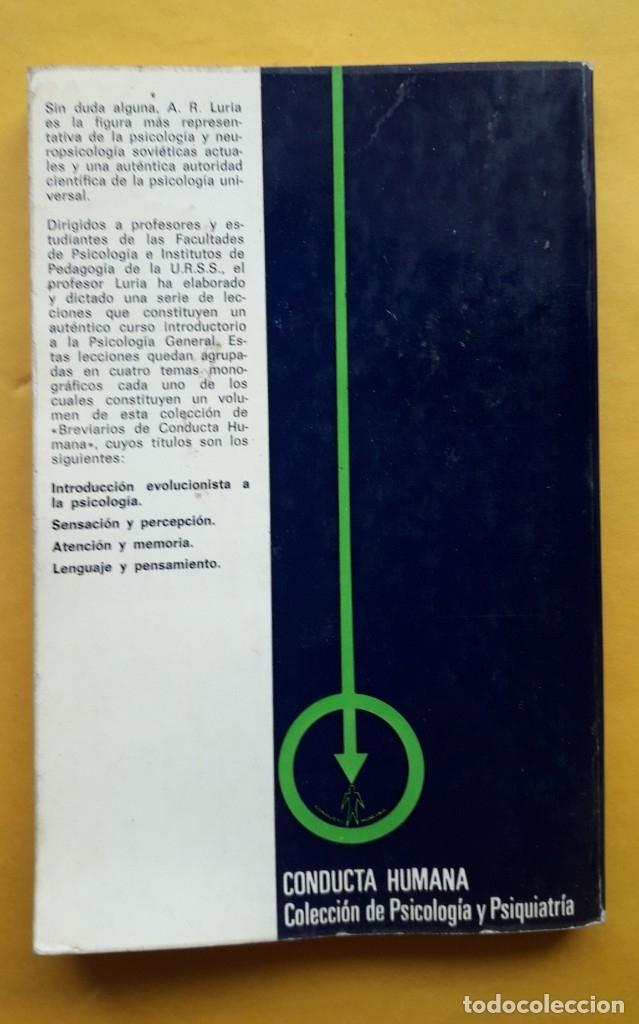 Libros de segunda mano: INTRODUCCIÓN EVOLUCIONISTA A LA PSICOLOGÍA. (A.R. LURIA) - Foto 2 - 173427384