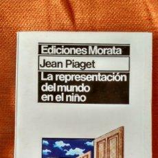 Libros de segunda mano: JEAN PIAGET. LA REPRESENTACIÓN DEL MUNDO EN EL NIÑO. ED.MORATA. 1975.. Lote 173591533