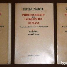 Libros de segunda mano: PROCESAMIENTO DE INFORMACIÓN HUMANA 3T POR LINDSAY Y NORMAN DE ED. TECNOS EN MADRID 1976. Lote 173971490