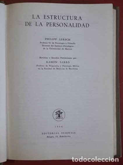 Libros de segunda mano: Philipp Lersch . La estructura de la personalidad - Foto 2 - 176355109