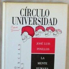 Libros de segunda mano: LA MENTE HUMANA - JOSÉ LUIS PINILLOS - CIRCULO DE LECTORES 1988 - VER ÍNDICE. Lote 176632283