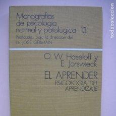Libros de segunda mano: EL APRENDER. PSICOLOGÍA DEL APRENDIZAJE.- O.W.HASELOFF, E.JORSWIECK.- ESPASA-CALPE. 1975. Lote 179517217