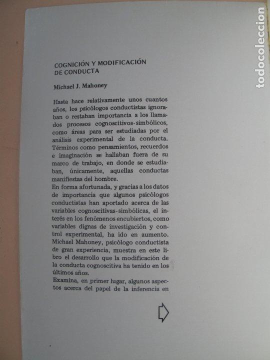 Libros de segunda mano: COGNICIÓN Y MODIFICACIÓN DE CONDUCTA.- MICHAEL J. MAHONEY.- TRILLAS.MÉXICO.1983 - Foto 3 - 180250702