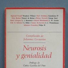 Libros de segunda mano: NEUROSIS Y GENIALIDAD. BIOGRAFIAS PSICOANALITICAS. Lote 180277440