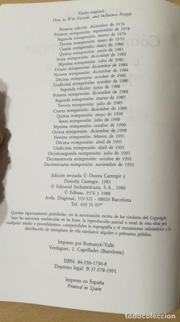 Libros de segunda mano: COMO GANAR AMIGOS E INFLUIR SOBRE LAS PERSONAS - DALE CARNEGIE / 71-72 AB - Foto 5 - 180422342