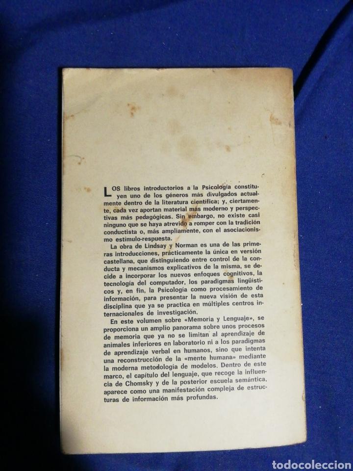 Libros de segunda mano: PROCESAMIENTO DE INFORMACIÓN HUMANA. PETER H. LINDSAY, DONALD A. NORMAN. TOMO II - Foto 2 - 181920061