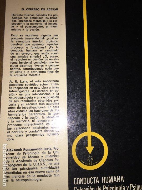 Libros de segunda mano: EL CEREBRO EN ACCION - A.R. LURIA - ED. FONTANELLA / CONDUCTA HUMANA Nº 21 - GCH - Foto 2 - 182254915