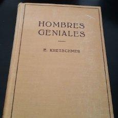 Libros de segunda mano: HOMBRES GENIALES, E. KRETSCHMER, ED. LABOR, 1954. Lote 182668211