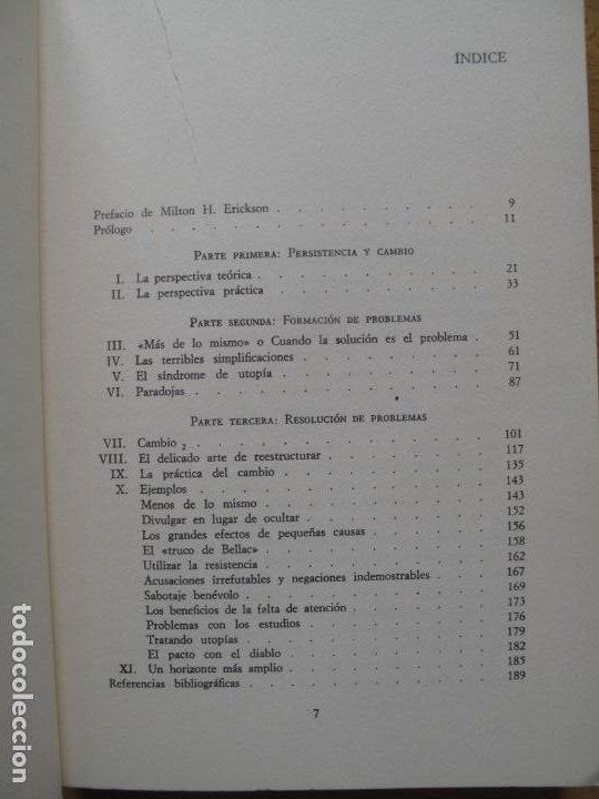 Libros de segunda mano: CAMBIO ( FORMACIÓN Y SOLUCIÓN DE LOS PROBLEMAS HUMANOS ).- P. WATZLAWICK.- HERDER. 1982 - Foto 3 - 183823272