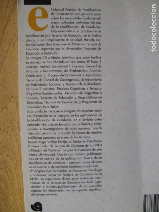 Libros de segunda mano: MANUAL PRÁCTICO DE MODIFICACIÓN DE CONDUCTA - I - M.A. VALLEJO Y OTROS.- FUND. UNIV-EMPRESA. 1993 - Foto 2 - 183828022