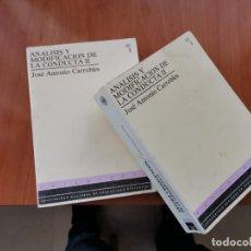 Libros de segunda mano: OBRA COMPLETA 2 TOMOS ANÁLISIS Y MODIFICACIÓN DE LA CONDUCTA II JOSE ANTONIO CARROBLES UNED 1993. Lote 184933123