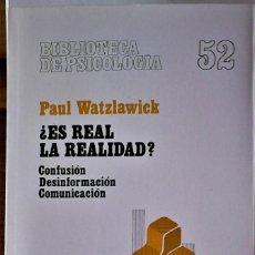 Libros de segunda mano: PAUL WATZLAWICK - ¿ES REAL LA REALIDAD?. Lote 190252152