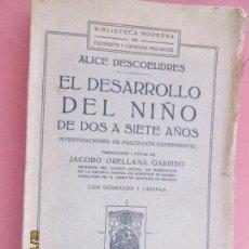 Libros de segunda mano: EL DESARROLLO DEL NIÑO , DE DOS A SIETE AÑOS - ALICE DESCOEUDRES 1929 CON GRABADOS Y LAMINAS . Lote 194625450