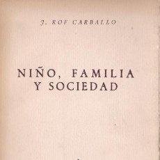 Libros de segunda mano: * PSICOLOGÍA NIÑOS * NIÑO, FAMILIA, SOCIEDAD / J.ROF CARBALLO. Lote 195411083