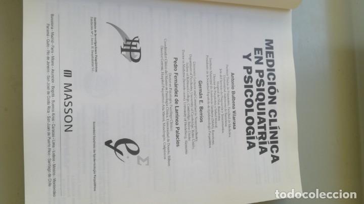 Libros de segunda mano: MEDICION CLINICA EN PSIQUIATRIA Y PSICOLOGIA - A BULBENA / G E BERRIOS / P FERNANDEZ - MASSON - Foto 4 - 195619108