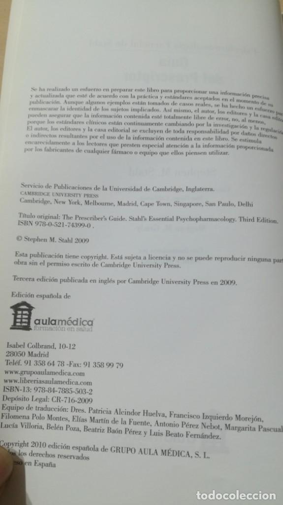 Libros de segunda mano: GUIA DEL PRESCRIPTOR - PSICOFARMACOLOGIA ESENCIAL DE STAHL - AULA MEDICA- PSIQUIATRIALL502 - Foto 7 - 197095338