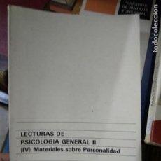 Libros de segunda mano: LECTURAS DE PSICOLOGÍA GENERAL II, ESTER BARBERA HEREDIA Y ROSA PASTOR CARBALLO. L.16184-759. Lote 220834678