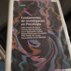 Libros de segunda mano: FUNDAMENTOS DE INVESTIGACIÓN EN PSICOLÓGIA VVAA 2010 Y 507 PÁGINAS. Lote 222322758