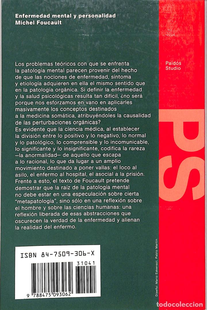 Libros de segunda mano: ENFERMEDAD MENTAL Y PERSONALIDAD - MICHEL FOUCAULT - EDICIONES PAIDÓS - STUDIO, 41 - Foto 2 - 245348485