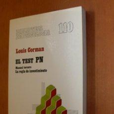 Libros de segunda mano: ELTEST P N LA REGLA DE INVESTIMENTO / LOUIS CORMAN. Lote 254641620