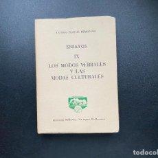 Libros de segunda mano: ENSAYOS IX. LOS MODOS VERVALES Y LAS MODAS CULTURALES. ANTONIO PASCUAL. ED. PEÑISCOLA. Lote 278386658