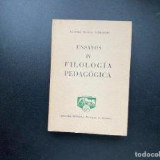 Libros de segunda mano: ENSAYOS IV. FILOLOGIA PEDAGOGICA. ANTONIO PASCUAL. ED. PEÑISCOLA. BARCELONA, 1961. PAGS: 214. Lote 278388103