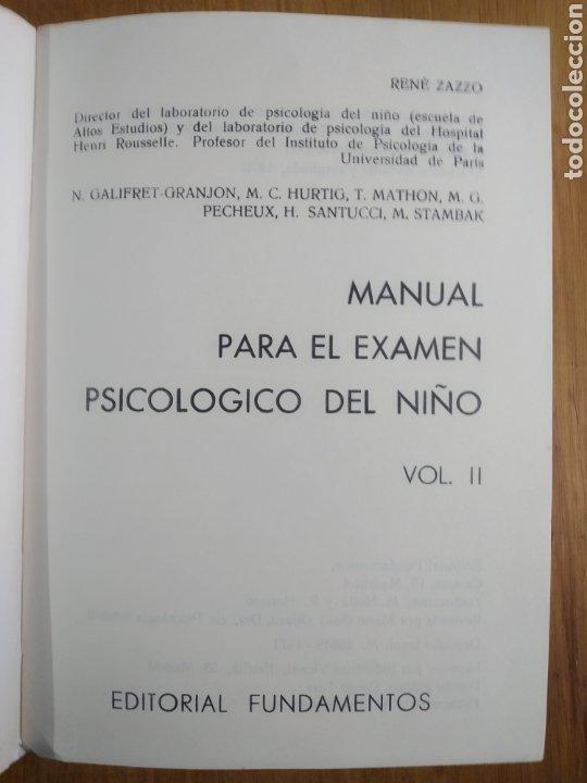 Libros de segunda mano: Zazzo, René. II Manual para el examen psicológico del niño. Fundamentos - Foto 3 - 289882313