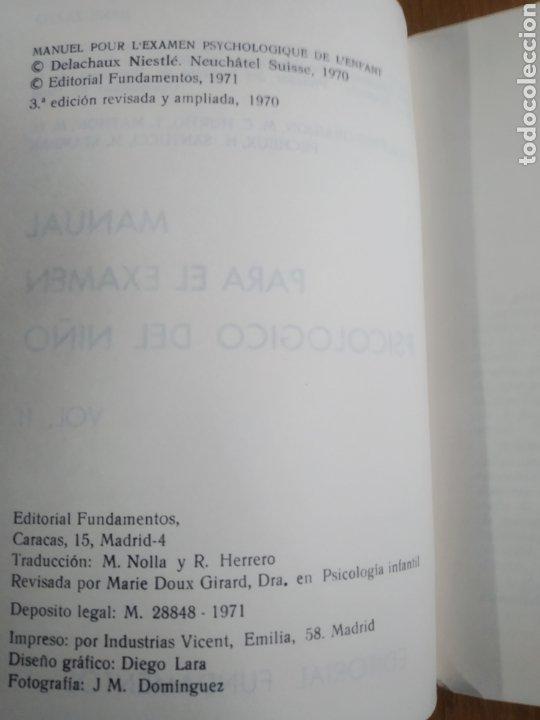 Libros de segunda mano: Zazzo, René. II Manual para el examen psicológico del niño. Fundamentos - Foto 4 - 289882313