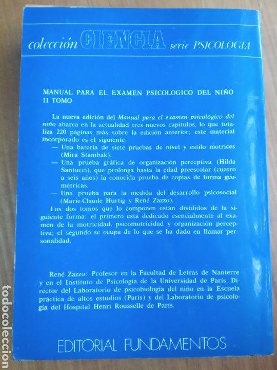 Libros de segunda mano: Zazzo, René. II Manual para el examen psicológico del niño. Fundamentos - Foto 8 - 289882313