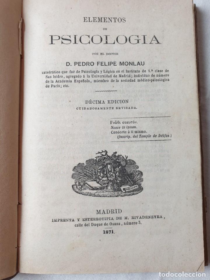 Libros de segunda mano: ELEMENTOS DE PSICOLOGIA - Foto 2 - 293543918