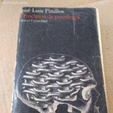 Libros de segunda mano: LIBRO ~ PRINCIPIOS DE PSICOLOGIA ~ JOSÉ LUIS PINILLOS ( AÑO 1975 ) ALIANZA EDITORIAL. Lote 295447813