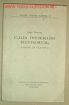 L' ALIO BEGUNORIUM / ARNAU DE VILANOVA (Libros de Segunda Mano - Religión)