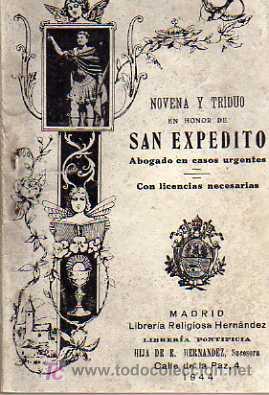NOVENA Y TRIDUO EN HONOR DE SAN EXPEDITO - LIBRERIA RELIGIOSA HERNÁNDEZ 1944 (Libros de Segunda Mano - Religión)