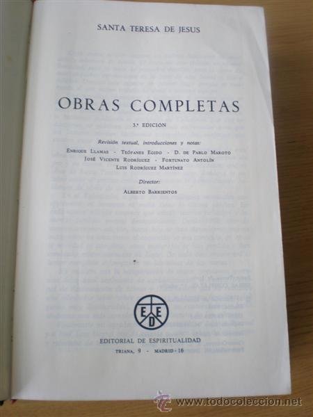 Libros de segunda mano: SANTA TERESA DE JESUS .. Obras completas 1984 - Foto 4 - 14868120