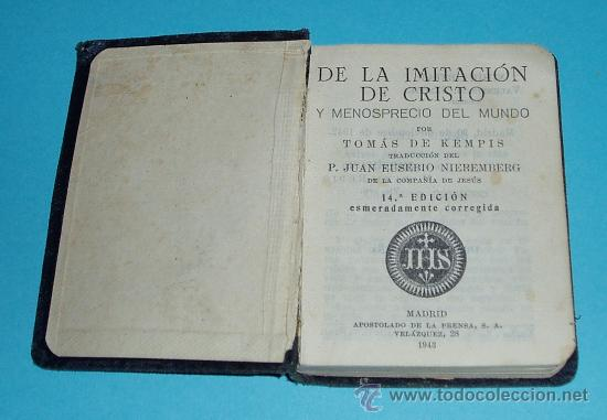 DE LA IMITACIÓN DE CRISTO Y MENOSPRECIO DEL MUNDO. TOMAS DE KEMPIS ( L06 ) (Libros de Segunda Mano - Religión)