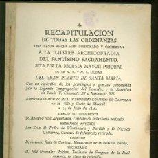 Libros de segunda mano: RECAPITULACION DE TODAS LAS ORDENANZAS. PUERTO DE SANTA MARIA. 1960.. Lote 25730337
