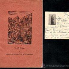 Libri di seconda mano: NOVENA A NUESTRA SEÑORA DE MONTSERRAT CON TARJETA DEDICATORIA - AÑO 1951 . Lote 28380730