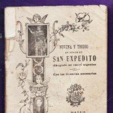 Libros de segunda mano: MINI LIBRO - NOVENA Y TRIDUO EN HONOR A SAN EXPEDITO - ED. HERNANDEZ / MADRID - AÑO 1956 - RD15. Lote 42359027