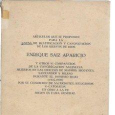 Libros de segunda mano: ARTÍCULOS QUE SE PROPONEN PARA LA CAUSA DE BEATIFICACIÓN Y CANONIZACIÓN DE LOS SIERVOS DE DIOS, LEER. Lote 47337599