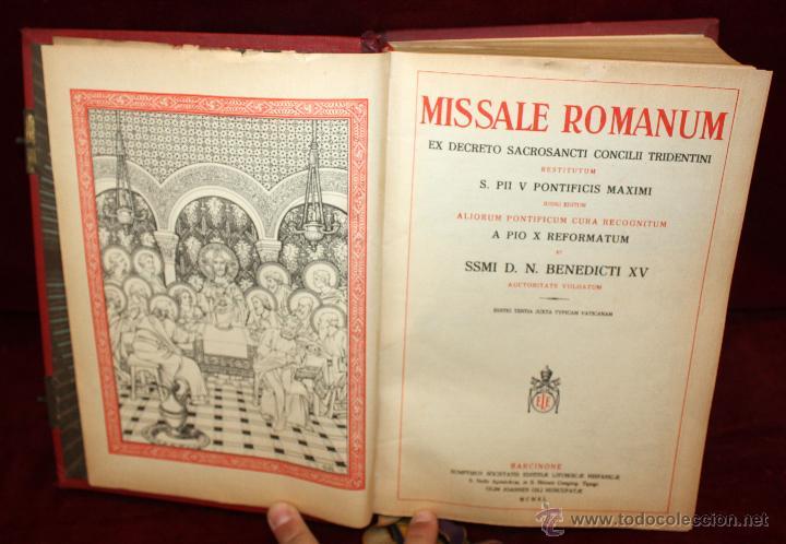 Libros de segunda mano: INTERESANTE MISSALE ROMANUM DEL AÑO 1940. GRAN FORMATO. INTERIOR CON LITOGRAFÍAS... - Foto 7 - 49285154