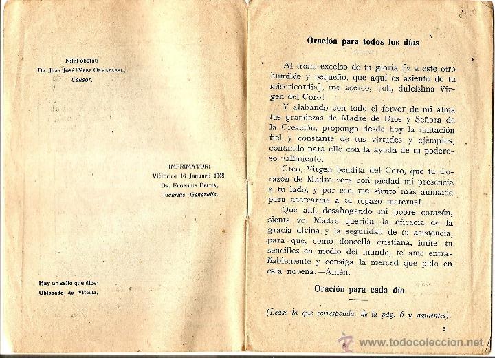 Libros de segunda mano: NOVENA A LA VIRGEN DEL CORO POR EL ESCLAVITO - EDICIONES J.M. - VITORIA AÑO 1948 - Foto 2 - 51032679