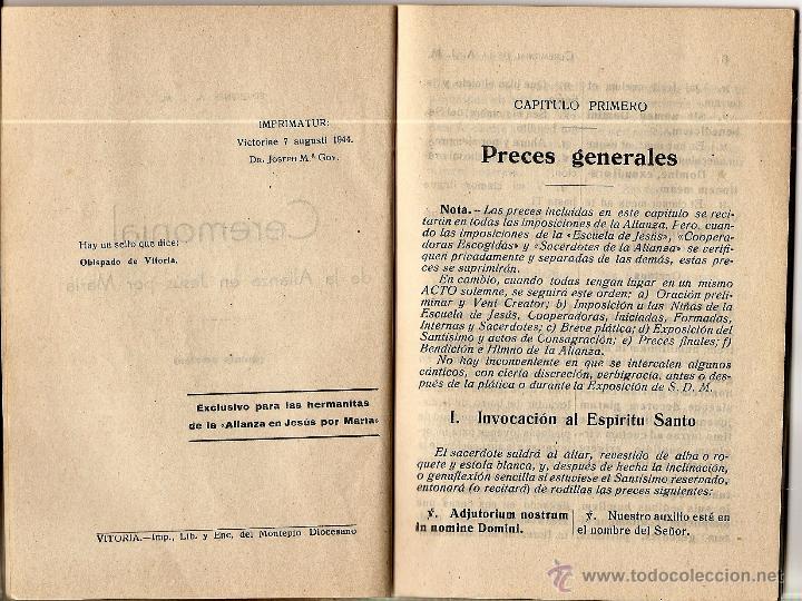 Libros de segunda mano: CEREMONIAL DE LA ALIANZA EN JESÚS POR MARÍA. - VITORIA AÑO 1944 - Foto 2 - 51032987