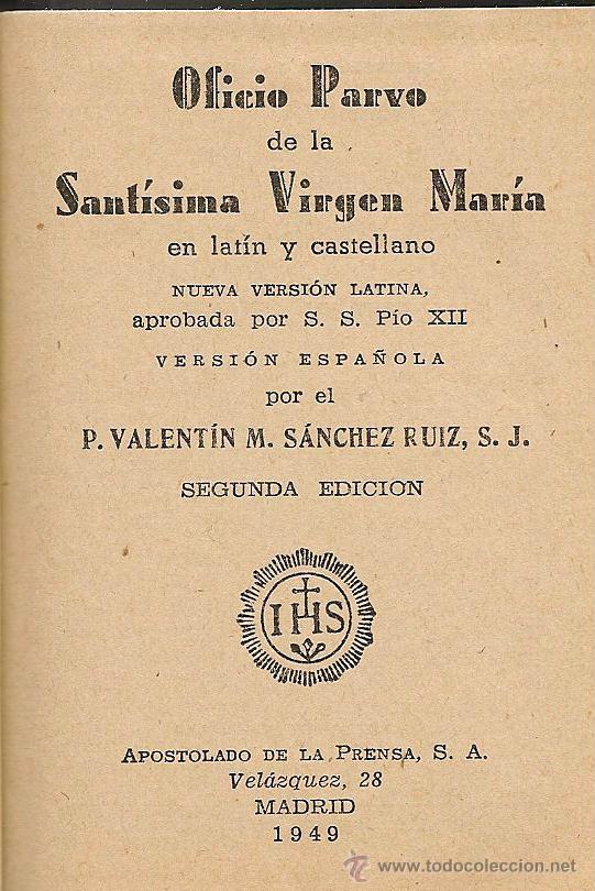 Libros de segunda mano: Oficio Parvo de la Santísima Virgen María en latín y castellano - 1949 - Foto 2 - 51052264