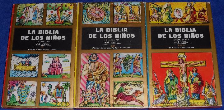LA BIBLIA DE LOS NIÑOS - ILUSTRADA POR PIET WORM - PLAZA & JANES (1962) (Libros de Segunda Mano - Religión)