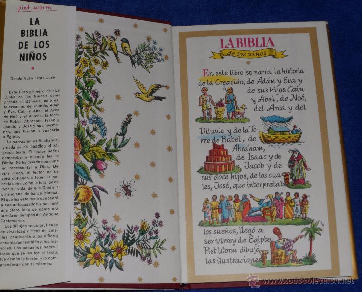 Libros de segunda mano: LA BIBLIA DE LOS NIÑOS - ILUSTRADA POR PIET WORM - Plaza & Janes (1962) - Foto 3 - 79041211