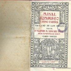 Libros de segunda mano: MISAL COMPLETO LATINO - ESPAÑOL - 1944. Lote 51600167