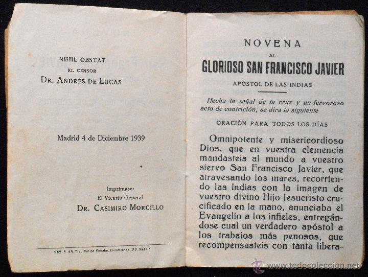 Libros de segunda mano: NOVENA AL GLORIOSO SAN FRANCISCO JAVIER - RAMÓN MUÑOZ ANDRADE - HIJOS DE GREGORIO DEL AMO AÑO 1943 - Foto 3 - 53137571